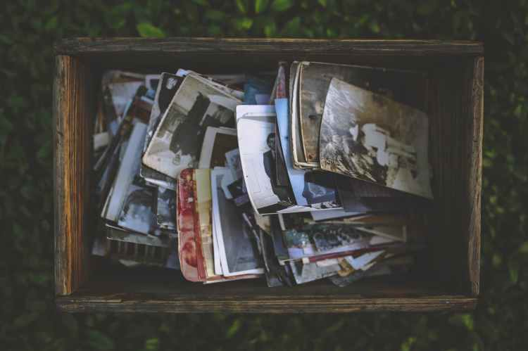 old photos in the wooden box